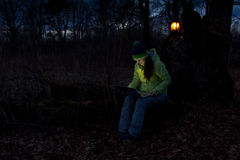 Freelance work on the laptop in the woods Royalty Free Stock Photos