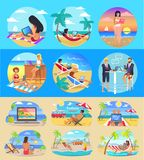 Freelance Workers With Laptops on Exotic Beaches. Set. Freelancers work in hot tropical countries under tall palms cartoon vector illustrations set vector illustration