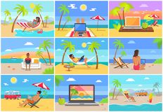 Freelance Workers at Sunny Tropical Beaches Set. Men and women on beaches with laptops work on distance. Freelancer on vacation vector illustrations stock illustration