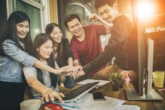 Freelance working team successful project in home office Stock Image