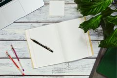 Freelance writer or blogger workspace concept Stock Photo