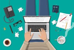 Freelance writer or journalist workplace. Laptop pc, draft, mouse. Paper sheets with text, pen, pencil. Ashtray, cigarette, coffee cup. Eyeglasses phone Vector Royalty Free Stock Photos