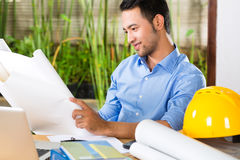 Architect working at home Stock Image
