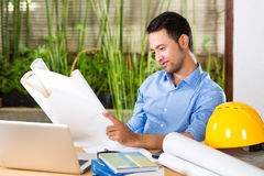 Architect working at home Royalty Free Stock Image