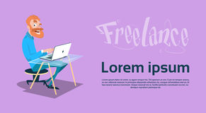 Freelancer Business Man Using Laptop Sitting Working. Flat Vector Illustration Stock Images