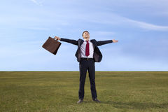 Freelancer. Businessman standing on green meadow with a briefcas Royalty Free Stock Photography