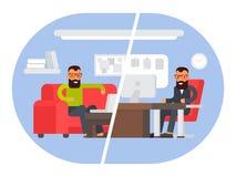 Freelancer contra o escritório para negócios Comparando o trabalho remoto com o lugar de funcionamento autônomo Ilustração lisa d ilustração royalty free