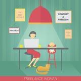 Freelancer da mãe Fotografia de Stock
