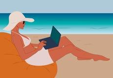 Freelancer de la muchacha que trabaja en la playa con el ordenador portátil libre illustration