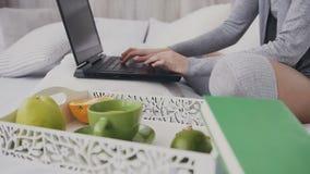 Freelancer de la mujer joven que se sienta en la cama en la habitación en el sitio blanco y que trabaja en ordenador portátil almacen de metraje de vídeo