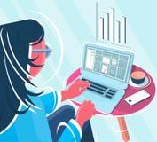 Freelancer delante del ejemplo del ordenador ilustración del vector