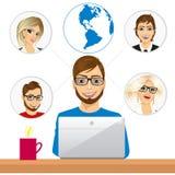 Freelancer die in samenwerking met medewerkers over Internet werken vector illustratie
