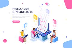 Freelancer Editable software develop Template Banner. Infographic of software develop a project wireframe. Engineering desktop workstation for office specialist royalty free illustration