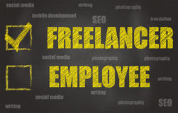 Freelancer Or Employee. Freelancer Chosen Over Employee, Written On A Black Board Stock Photos