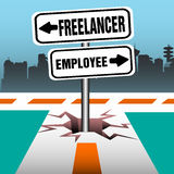 Freelancer employee signpost. Abstract colorful illustration with two plates coming out from a crack in the middle of a road, close to a junction and indicating Royalty Free Stock Photos