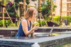 Freelancer fêmea novo que senta-se perto da associação com seu portátil dentro Fotos de Stock