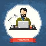 Freelancer för bärbara datorn Royaltyfri Fotografi