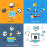 Freelancer Flat Set Stock Photos