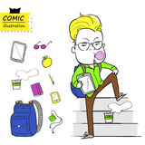Freelancer and his things.(vector) Royalty Free Stock Photography