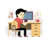 Freelancer at His Workplace Royalty Free Stock Photo