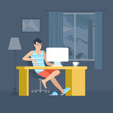 Freelancer home office freelance workplace flat vector
