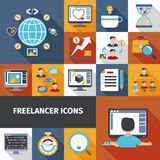 Freelancer Icons Set Stock Photo