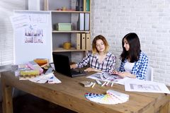 Freelancer interior designer working in design studio. Young freelancers interior designers working develop new appartment project in design studio. Two women royalty free stock photos