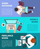Freelancer journalist working at laptop. Home work, business writing and freelance vector banners stock illustration