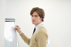 Freelancer looking at his ideas written on paper and stuck to a wall royalty free stock photography