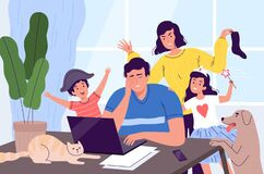 Freelancer man is distracted from work on a laptop at home. Children, pets, and a wife stop dad from working. Noisy