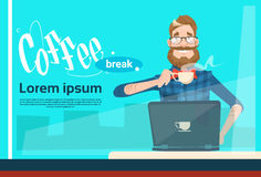 Freelancer Man Using Laptop Sitting Hold Cup Coffee Break. Flat Vector Illustration stock illustration