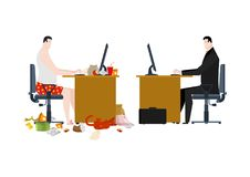 Freelancer and manager in business office. Work at home and work Stock Images