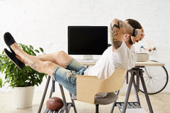 Freelancer with many hobbies working at home set royalty free stock images