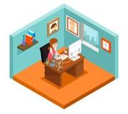 Freelancer på arbete Isometriskt för kvinnaarbete för frilans 3d hem Royaltyfri Bild