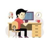 Freelancer på hans arbetsplats stock illustrationer
