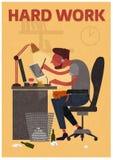 Freelancer para el trabajo duro de sentarse en un cuarto Foto de archivo