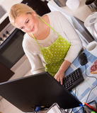 Freelancer with PC, tea and sandwich Stock Photos