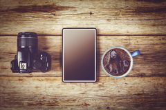 Freelancer photographer, photographer services, op view, copy space, flat lay, Concept of hipster travel royalty free stock photography