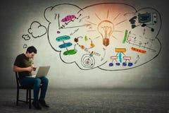 Freelancer que se sienta en silla usando su ordenador portátil y teléfono móvil que hacen diversos cálculos y que planean futuro imágenes de archivo libres de regalías