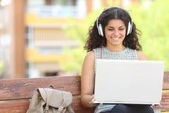 Freelancer que trabaja con un ordenador portátil en un parque Imagen de archivo libre de regalías