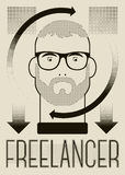 Freelancer retro typographic poster with a man. Concept vector illustration. Royalty Free Stock Images