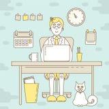 Freelancer som arbetar på datoren vektor illustrationer