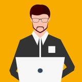 Freelancer som arbetar på datoren Plan illustration för vektor royaltyfri illustrationer