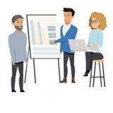 Freelancer som gör presentationen, flickaarbete på bärbara datorn stock illustrationer