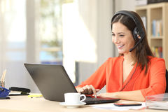 Freelancer talking in a video conference Stock Images