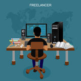 Freelancer, vector illustration Stock Photos