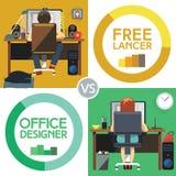 Freelancer Versus Office Designer Royalty Free Stock Photos