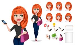 Freelancer woman cartoon character creation set. Young beautiful businesswoman or designer in free style clothes. Build your personal design - stock vector Royalty Free Stock Photo