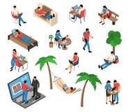 Freelancer Work Isometric Set stock illustration