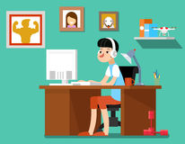 Freelancer at work, vector illustration Stock Photography